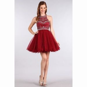 Burgundy Rhinestone Party Dress